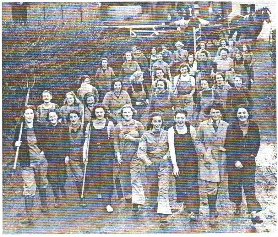 Famous Land Girl Picture, used a lot when we finally received the recognition due us. I am pictured at the training college at Hutton in 1939.