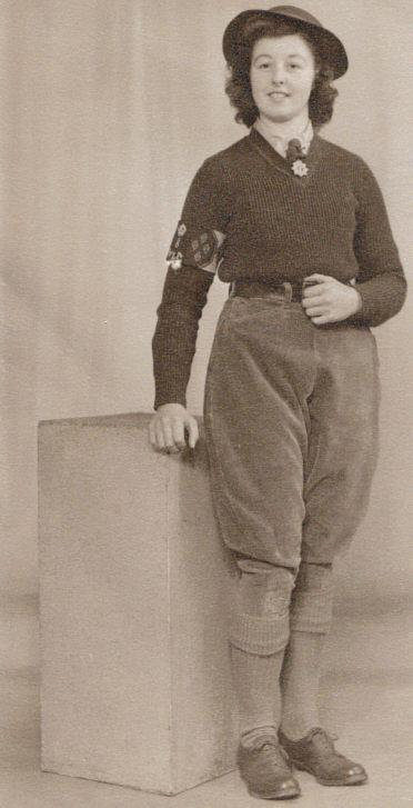 Land Girl Veronica in her best uniform after two years of service in the Women's Land Army