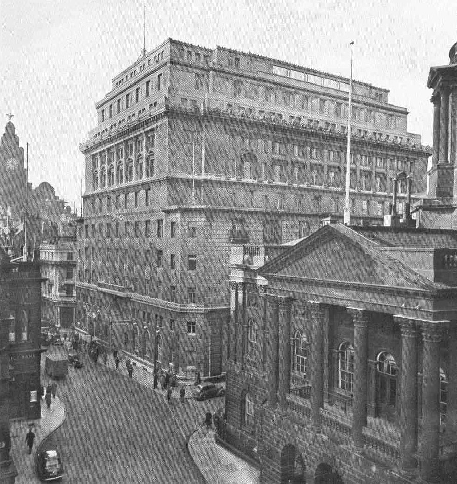 Martins Bank, Water Street, Liverpool. Beyond to the left can be seen the Liver Building at the Pier Head and to the right at the head of Castle Street the Town Hall.