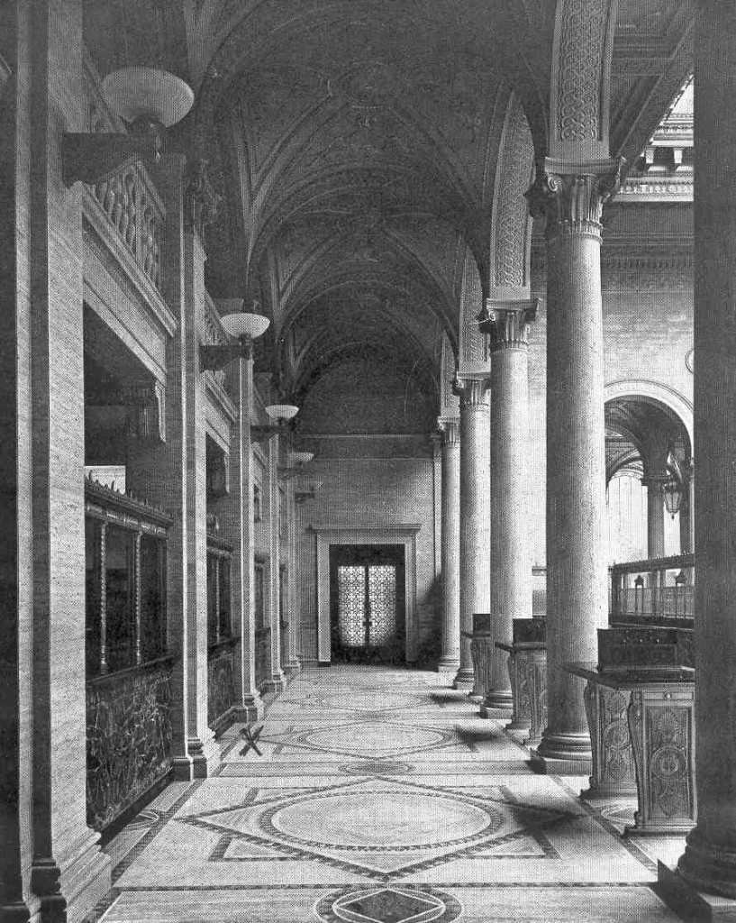 "The main banking hall of Martins Bank, the Foreign Branch was to the left where marked ""x""."
