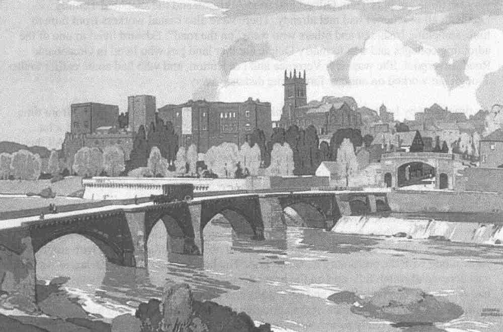 Chester from a water color. On the far left is Chester Castle, centre the 12th century church of St. Mary-Within-the-Walls, and to the right of that Bridgegate, and over the Dee the Old Dee Bridge built in 1387.